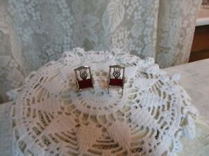 Vintage Adorable Miniature 1 5 8 Sterling Silver 925 Set Of 2 Doll House Chairs