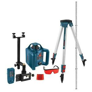 Self Leveling 800 Ft Rotary Laser Level Kit Complete Solution Easy Grip Bosch