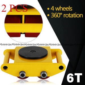 2 Sets Heavy Duty Machine Dolly Skate Machinery Roller Mover Cargo Trolley 6 Ton
