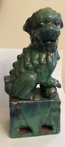 Antique Chinese Pottery Porcelain Foo Dog 10 5 Statue Green Glaze Red Clay