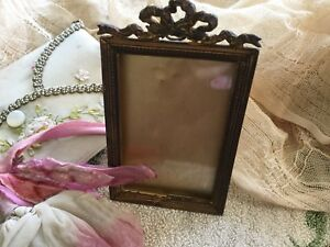 Antique Vintage Art Nouveau Gold Tone Metal Picture Frame With Ribbon Bow