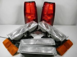 New Set Headlights Taillights Marker 90 1993 Chevy Silverado C K 1500 2500 3500