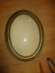 Vintage Old Oval Picture Frame With Convex Glass