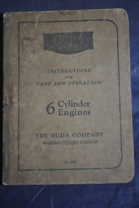1928 Instructions Care Operation 6 Cylinder Engines Buda Company