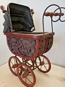 Vintage Antique Ornate Wicker Baby Doll Buggy Stroller Carriage With Bedding