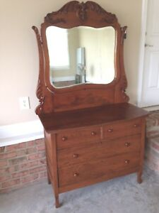 Antique Oak Dresser W Mirror