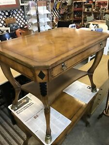 2 Antique Pecan Console Writing Or End Tables Drawer Carved Inlay Brass Hooves