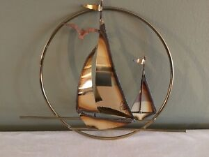 Mid Century Metal Brass Copper Sailboats Gull Circular Wall Hanging Signed