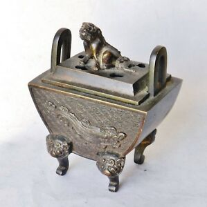 Antique Meiji Era Japanese Bronze Censer Foo Dog Finial Incense Koro