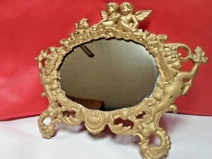 Antique Victorian Cast Brass Cherub Art Table Top Mirror Numbered 509 On Back