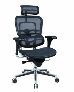 Ergohuman High Back Swivel Chair With Headrest Black Mesh Chrome Base Me7ergn