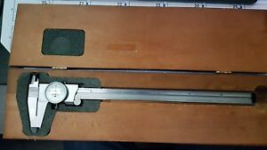Starrett 12 Inch Dial Caliper Model 120 Machinist Tools Wood Box
