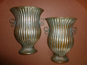 Copper Metal Pair Of Wall Sconce Art Deco Vase Urn Mid Century Chinese