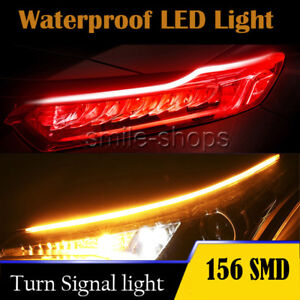 60cm Led Amber Red Strip Drl Daytime Running Light Flexible Soft Tube Guide Lamp