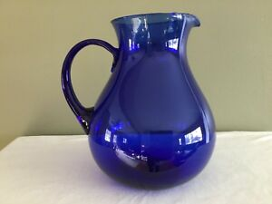Large Cobalt Blue Glass Pitcher Mexico Hand Made 9 1 4 Tall