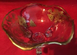 Duncan Miller Fluted Footed Candy Dish By Glastonbury Lotus Gold Flowers