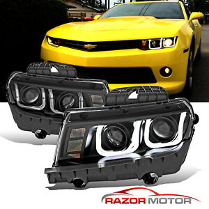 2014 2015 Led Drl Halo Bar Black Projector Headlight Pair For Chevy Camaro