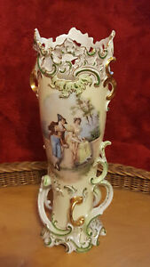 Antique 1850 S French Old Paris Porcelain Vase W Gallant Scene