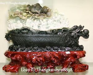 Natural Dushan Jade Dragon Boat Ship Eight Immortals God Crane Shouxing Peach