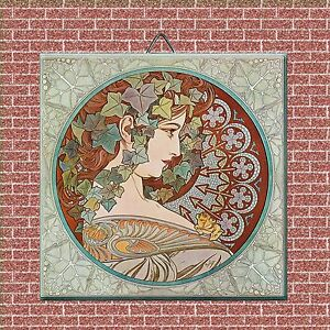 Art Nouveau Alphonse Mucha Reproduction Decorative Ceramic Tile 4 25 5