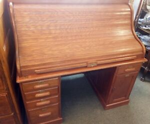 Large 54 Antique American Oak Paneled Roll Top Desk