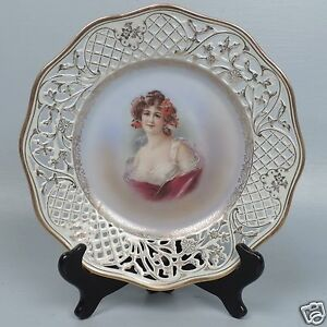 Reticulated Schumann German Porcelain Cabinet Portrait Plate Lady 1 Pc