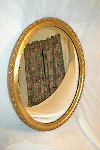 Vtg Victorian Antique Vanity Wall Gold Gilt Oval Wall Mirror Large