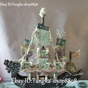 20 Natural Dushan Jade Carved Fengshui Dragon Dragons Phoenix Ferry Boat Statue