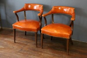 2 Vintage Orange Studded Chairs Lobby Library Law Office Waiting Room Lounge Set