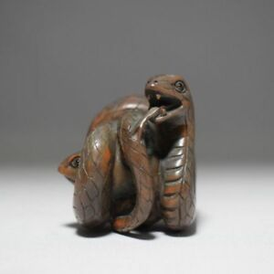 Netsuke Snakes And Frogs Japanese Wooden Figure Sculpture Ojime Okimono Inro