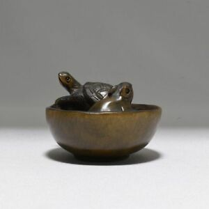 Netsuke A Mouse And A Tortoise In A Bowl Japanese Wooden Figure Sculpture Ojim