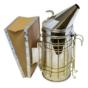 Bee Hive Smoker W Heat Shield Stainless Steel Beekeeping Equipment New