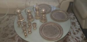 Egyptian Antique Copper Dallah With 4 Pieces With Tray 3 Pieces And Goblet