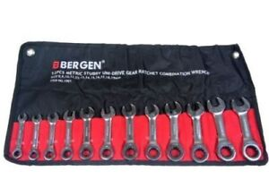 Bergen 12pc Stubby Uni drive Gear Ratchet Combination Wrench Set A1901
