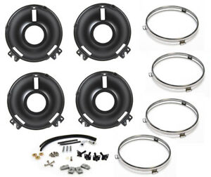 New 1969 Ford Mustang Front Headlight Buckets Complete Rebuild Kit W Rings Hw