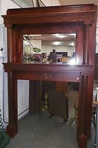 1900 S Mahogany Antique Fireplace Mantel Carved Wood Capitols Applied Carving