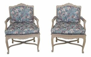 30452ec Pair French Louis Xv Style Open Arm Occasional Chairs