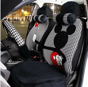 18 Piece Black And White Check Mickey Mouse Valentine Car Seat Covers