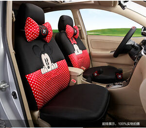 18 Piece Red And Black Polka Dot Mickey And Minnie Mouse Car Seat Covers