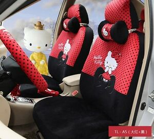 18 Piece Black red Hello Kitty Little Bow Car Seat Covers