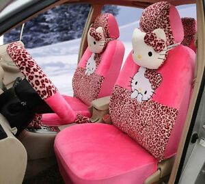 18 Piece Pink Leopard Hello Kitty Car Seat Covers