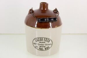 Red Wing Jacob Esch Stoneware Bail Handle Jug Liquor St Paul Mn Minnesota Crock