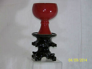 Chinese Ming Dy Wanli Reign Mark Chun Red Glaze Libation Cup W Stem Base