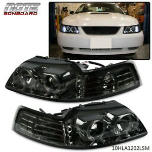 For 1999 2004 Ford Mustang Smoke Dual Halo Projector led amber Corner Head Light