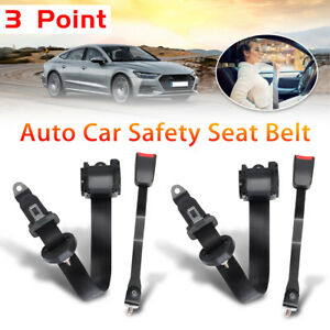 2x 280mm Universal 3 Point Auto Car Safety Seat Belt Bolt Retractable Automatic