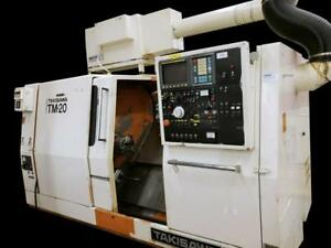 Takisawa Tm 20 Cnc Lathe W Live Tooling Bar Feed Air Cleaner Chip Conveyor