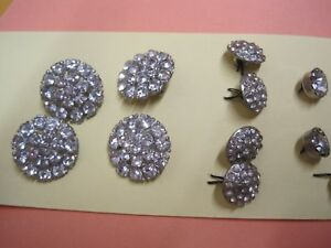 Antique Buttons 25 Cut Glass Rhinestone Group Lot