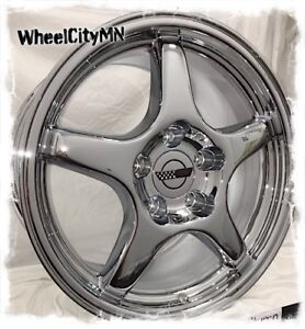 17 X9 5 Inch Chrome Chevy Corvette C4 Zr1 Oe Replica 5035 Wheels 5x4 75 56 New