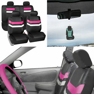 Pu Leather Seat Covers Universal Fit Full Set For Suv Car Van Auto Pink W Gift