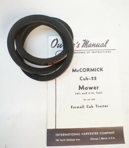 Cub 22 Sickle Mower Belt Manual International Harvester Mccormick Farmall